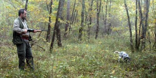 Un cazador se prepara para disparar sobre la pieza que le muestra su perro en el coto del Valle de Mena
