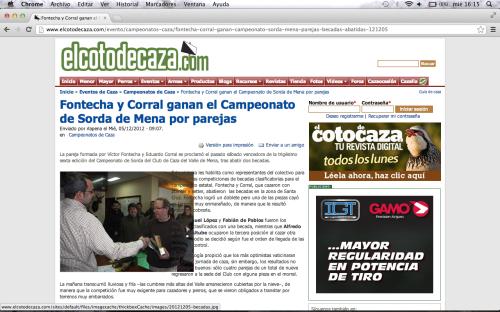 www.elcotodecaza.com informa sobre el XXXVI Campeonato de Sorda del Club de Caza del Valle de Mena